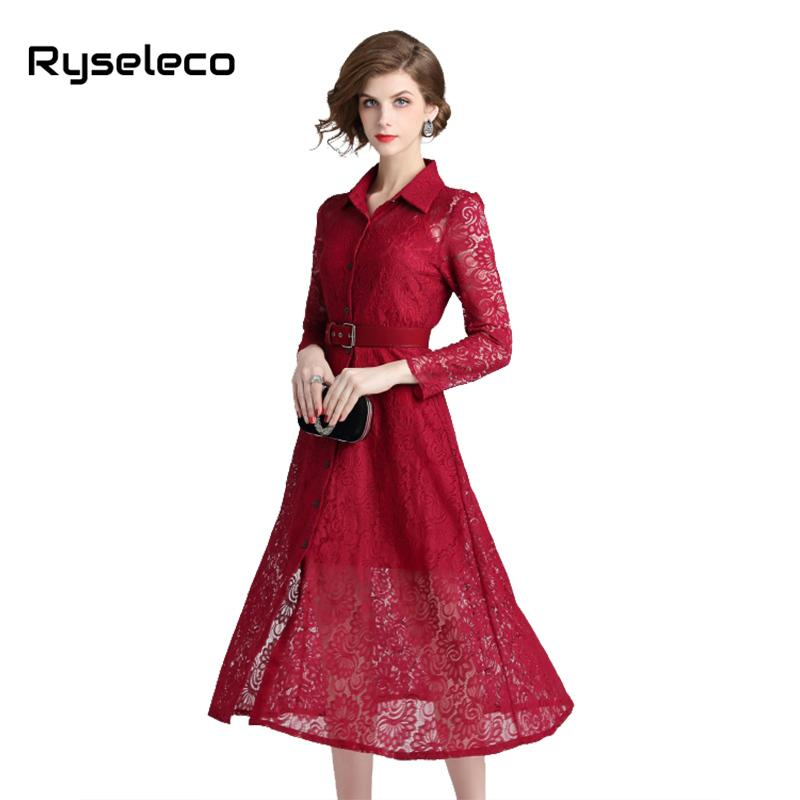 d8cfeeea02571 2019 Fall Winter Women Lace Dresses Floral Crochet Button Up Turn Down  Collar Casual Elegant Office Party Clothing Long Sleeve Dress From Laftfly