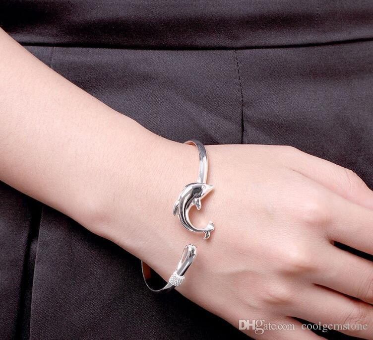 Luckyshine Holiday Gift Dolphin Shine Pure 925 Sterling Silver Open Adjustable Bracelets Bangles Russia Bangles