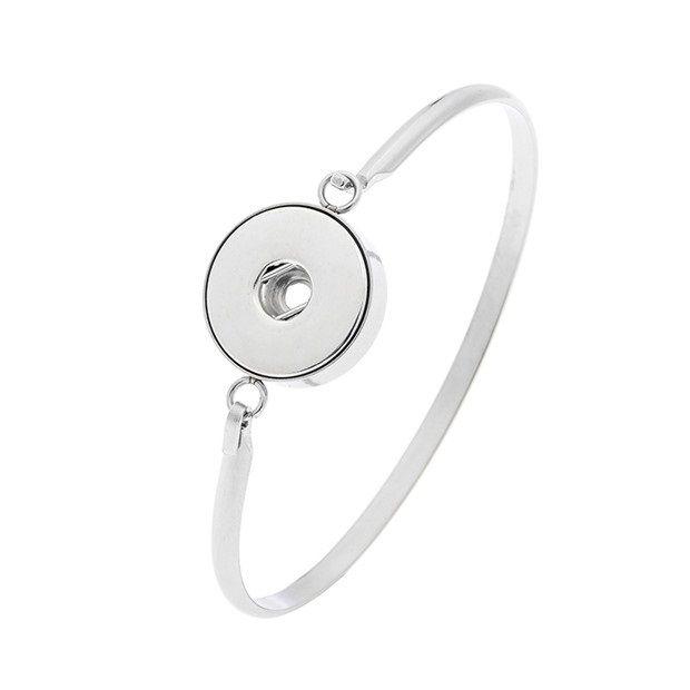 Brazalete de acero inoxidable de Noosa Pulsera de botón a presión Brazalete de ajuste Fit 18mm Pulsera de botón a presión para hombres Mujeres