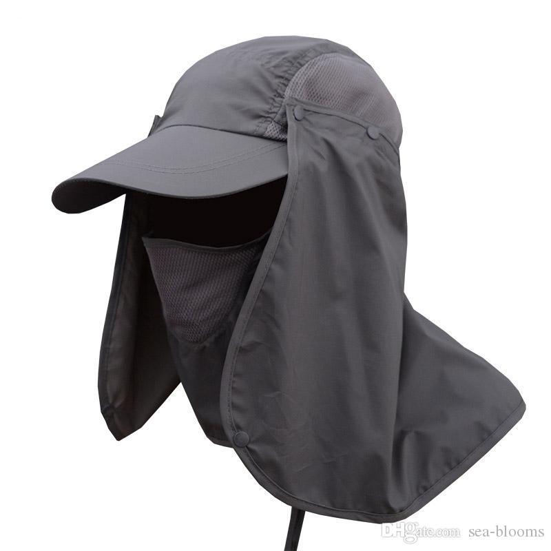 Fishing Hat 360°UV Protection Sun Hat Cover Face Summer Sun Visor Cap Folding Removable Neck Face Mask For Outdoor Activities Free DHL G801R