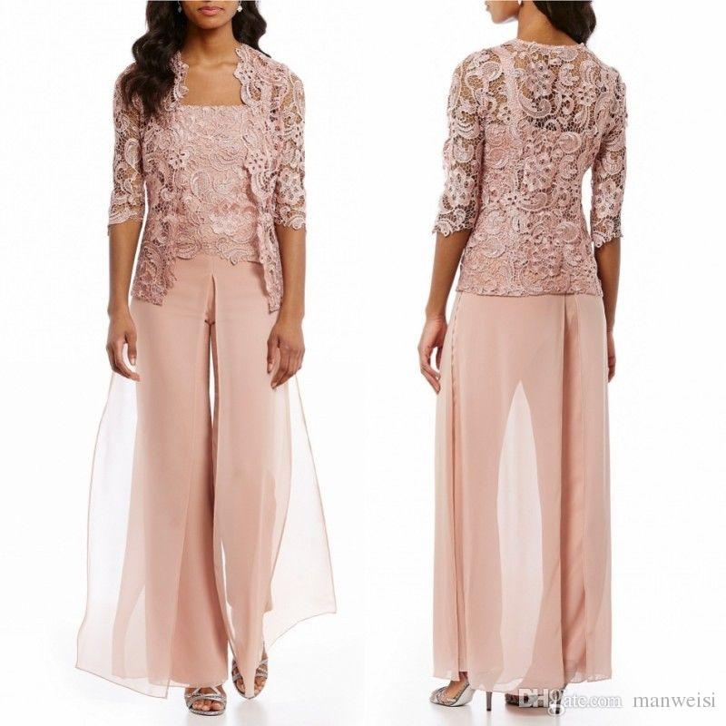 Cheap Pink Mother Of The Bride Pant Suits With Jacket Chiffon Lace