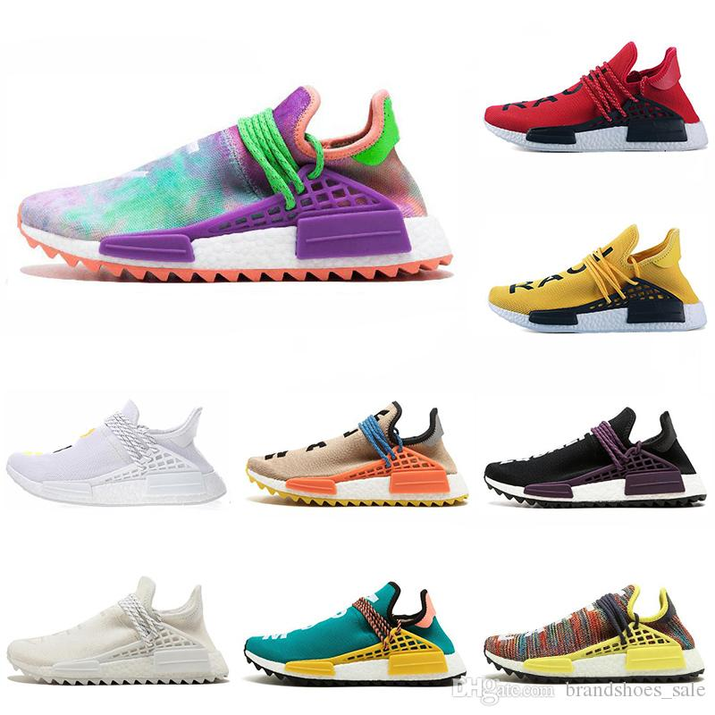 best service a4795 ac1b8 Cheap Human Race mens running shoes Red Black Canvas Chalk Coral Black  yellow lace Women sports sneaker size 5.5-12