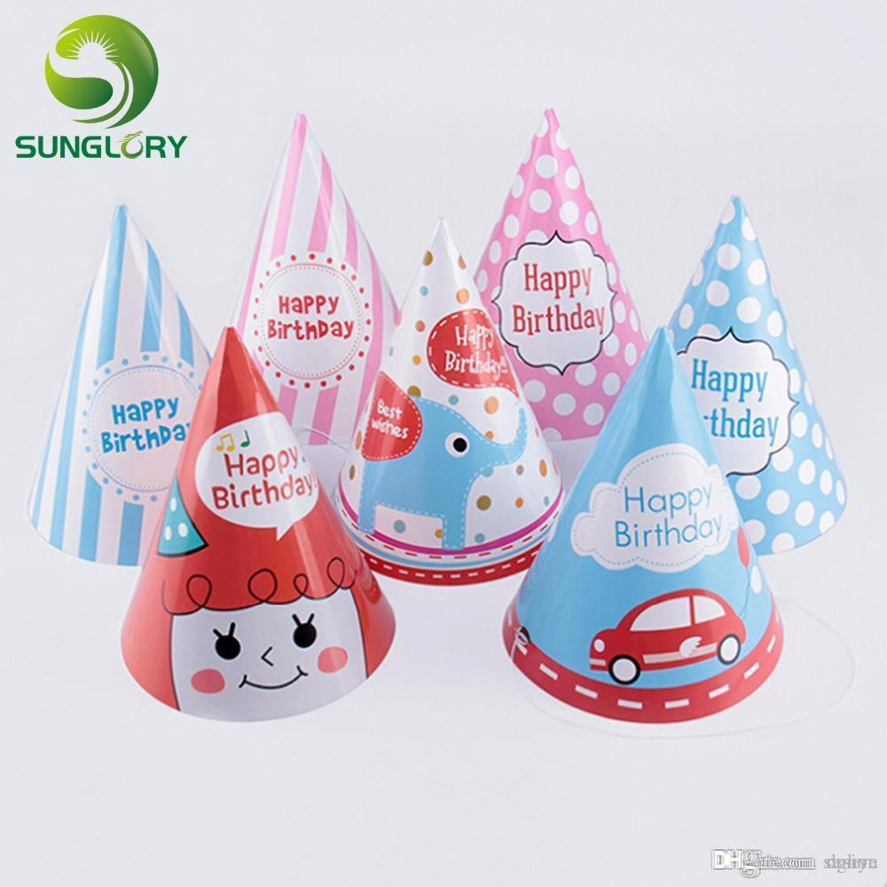 Wholesale Party Celebration Supplies Decoration Kids Birthday Caps Happy Children Hat With Elastic Cord 7 Shapes 40th Hats
