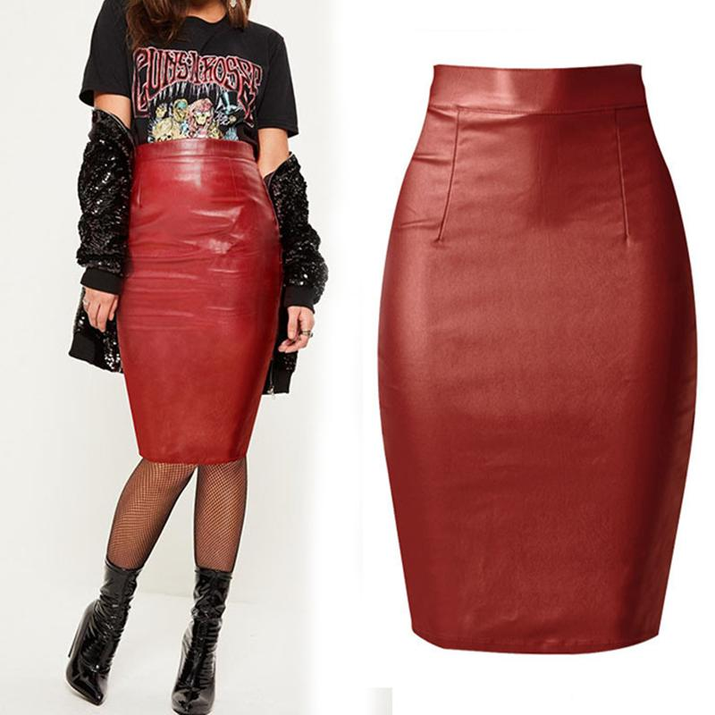 347b909d820813 2019 2017 Fashion Women S Clothing Coating Faux Leather Skirts Empire Slim  Stretch Leather Skirts Knee Length Female Pencil Skirting From Buxue