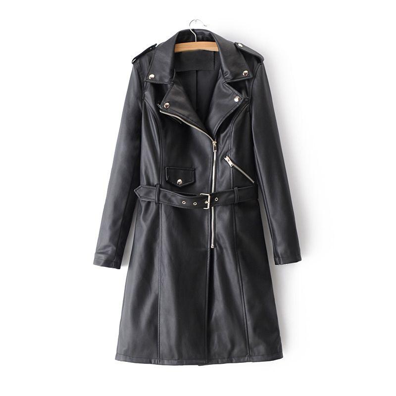 c8fdac841e31 2019 Kobykoyi Women Autumn Trench Coat Fashion Street Pu Leather ...