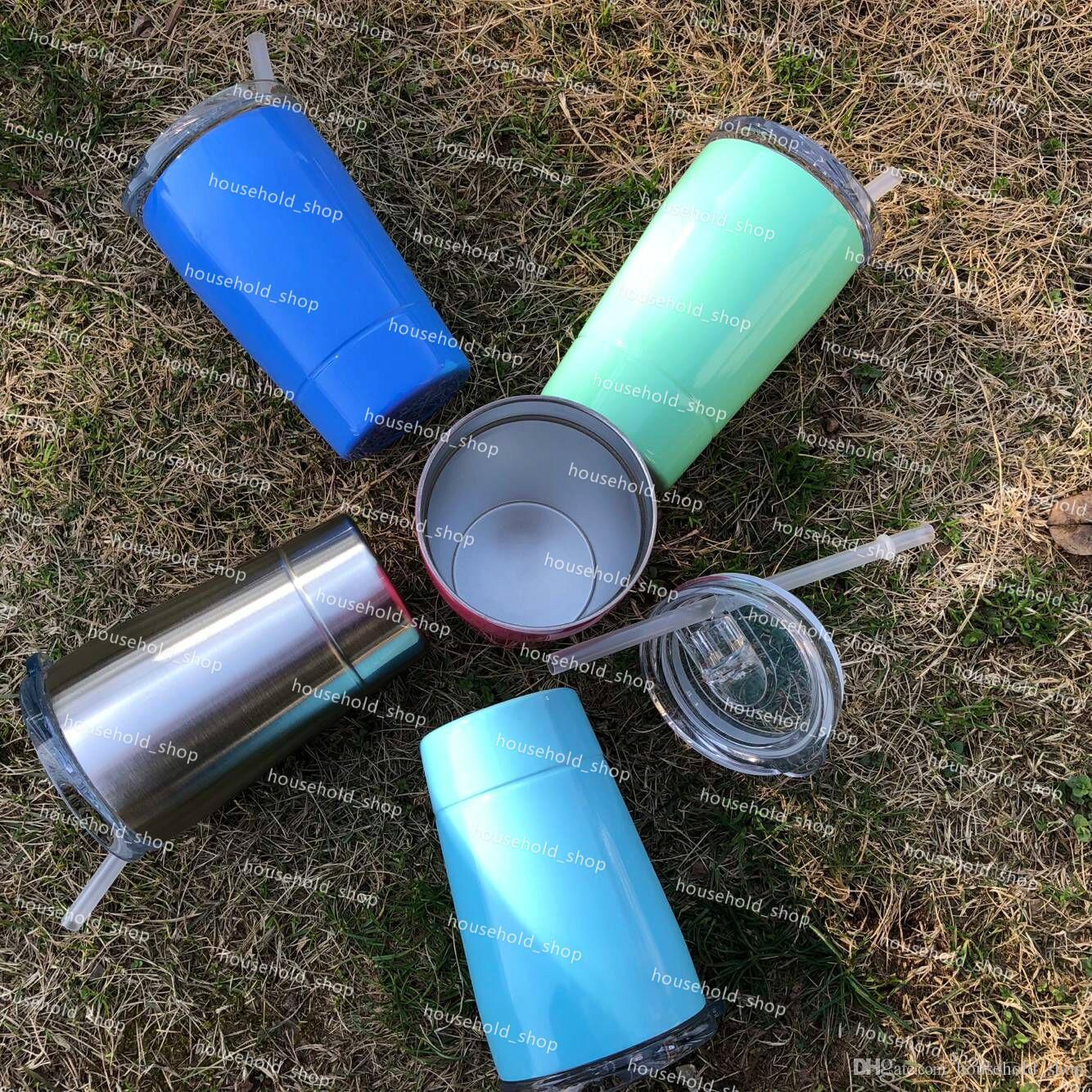 12 oz Canecas de Aço Inoxidável Copo de Vinho Caneca Stemless Com Tampas de Palha 5 cores Adultos Crianças Drinkware Copos de parede Dupla