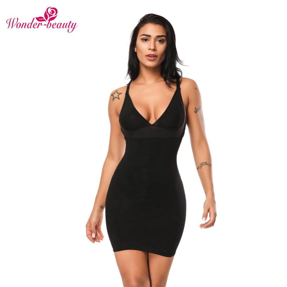 348637be07a 2019 Wonder Beauty Women Slimming Shapewear Sexy Wedding Bodysuit Firm Control  Body Shaper Waist Trainer Camis Slim Full Slip Dress F From Derricky