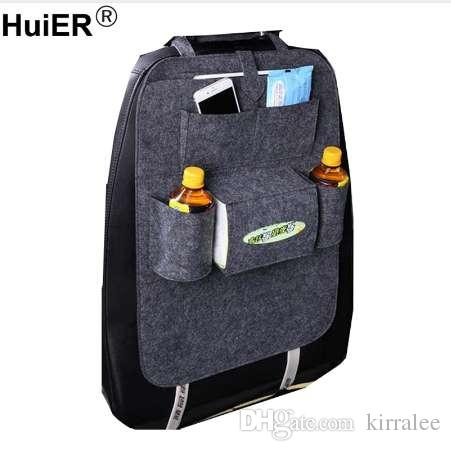 HuiER Car Styling Seat Cover Auto Back Boot Organizer Multi Pocket Storage Container Stowing Tidying Recaro Replacement