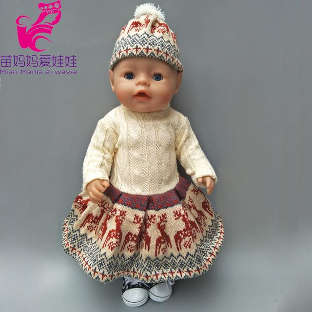 Baby Born Doll Knit Dress And Hat Fit For 18 Inch Dolls Suit Baby 43cm Zapf  Dolls Quality Suit Girl Gitf Toy 18 Doll Clothes And Accessories  Accessories For ... 46a54ce8e282