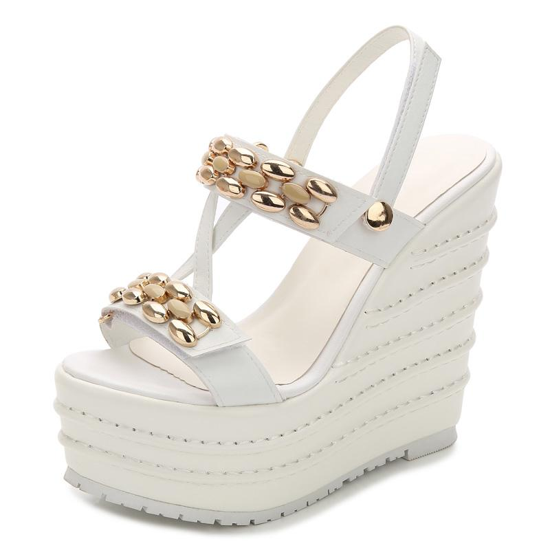 388660258f9 2018 Summer Sandals Women 14CM Super High Heels Platform Wedges Shoes  Buckle Ankle Wrap Fringe Peep Open Toe Ladies Shoes Women Silver Sandals  Gold Sandals ...