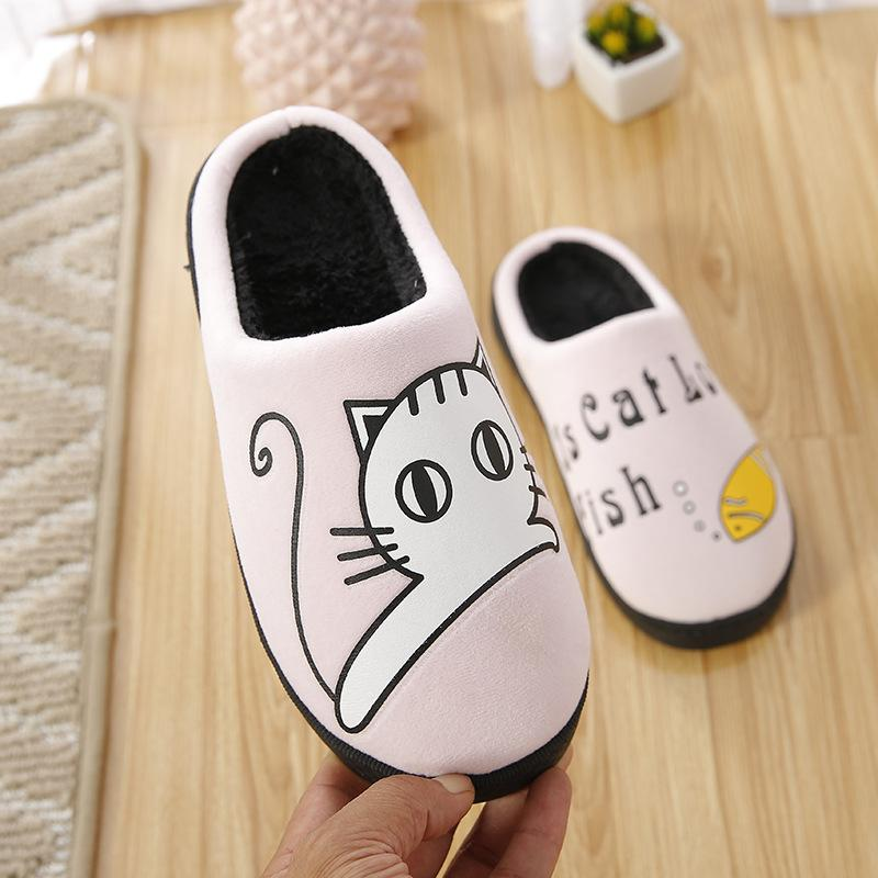 25d3af0e8e659 Home Slippers Ladies Winter Cute Cat Cartoon Men Women Couple Indoor  Bedroom Shoes Soft Warm Plush House Floor Slides Flip Flops Online with  $34.79/Pair on ...