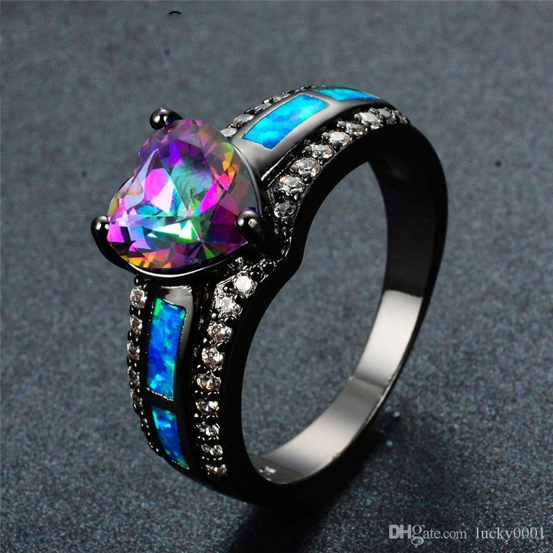 Charm Multicolor Heart Zircon Blue/Purple/Green Colorful Stone Ring Women's Vintage Black Gold Opal Black Gun Opal Birthstone Ring