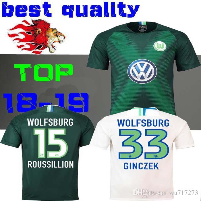 new product 85576 cafbb 18 19 Wolfsburg home away soccer jersey 2018 2019 GINCZEK GUILAVOGUI Origi  KALUS MALLI STEFFEN VfL Wolfsburg