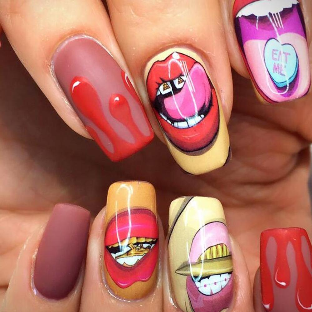 1 Sheets Funny Nail Sticker Sexy Mouth Lips Full Cover Pattern Water