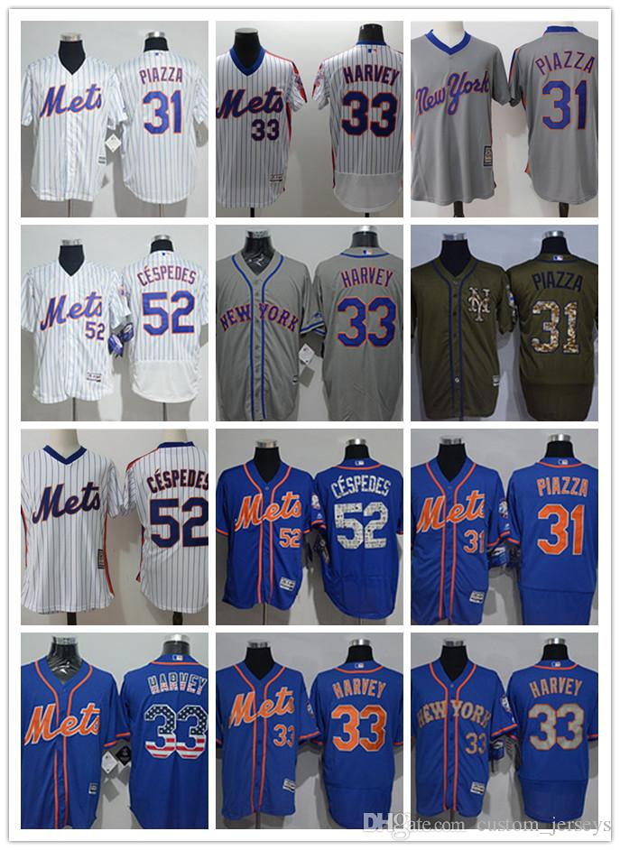buy online 31cba c27ec custom Men women youth NY 2019 Mets Jersey #33 Matt Harvey 31 Mike Piazza  52 Yoenis Cespedes Blue Baseball Jerseys