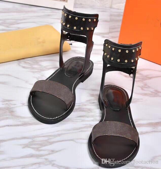 Verão Praia Sapatos Casuais Impressão Mulheres De Couro Upscale Nomad Sandália Impressionante Gladiador Estilo Couro Sola Plana Perfeita Liso Sandália Simples