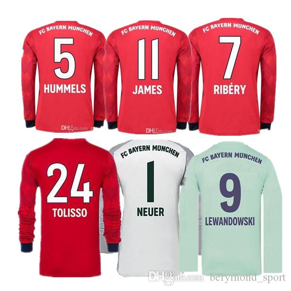 81af2aba95 2018 2019 James Jersey De Fútbol De Manga Larga Neuer Lewandowski Muller  Robben Tolisso Camiseta Portero 18 19 Camisetas De Fútbol Bayern Munich Por  ...