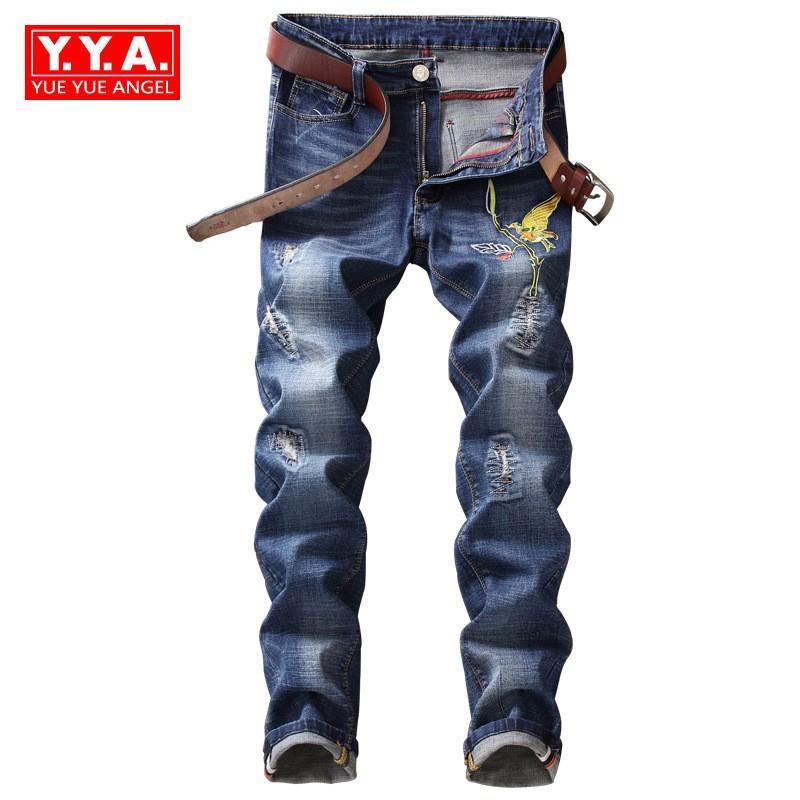 e1104bef28a84 Acheter 2018 Nouveau Patch Broderie Hommes Jeans Stretchy Slim Fit Denim  Long Pantalon Zipper Biker Jeans Homme Casual Déchiré Cowboy Pantalon De  $72.83 Du ...