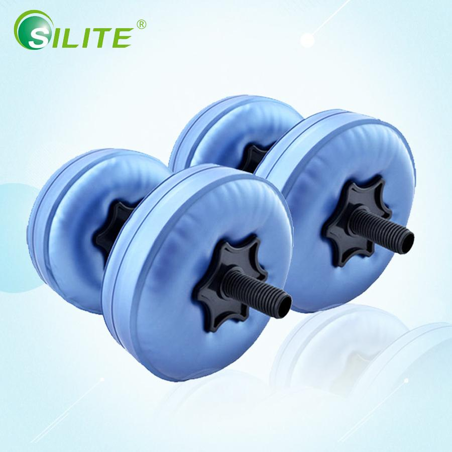 SILITE 2 unids 5-10 kg Ajustable Water-filled Dumbbell Weight Portable Yoga Fitness Dumbbells Riego Agua Equipo de Gimnasia
