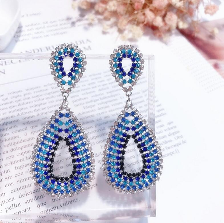 e1768128a1fc Compre Nupcial Azul Cuelga Los Pendientes De Gota Cristal Austriaco Rhinestone  Joyería De Lujo Para Mujer Diseñador Pendiente Brillante Para Las Mujeres  ...