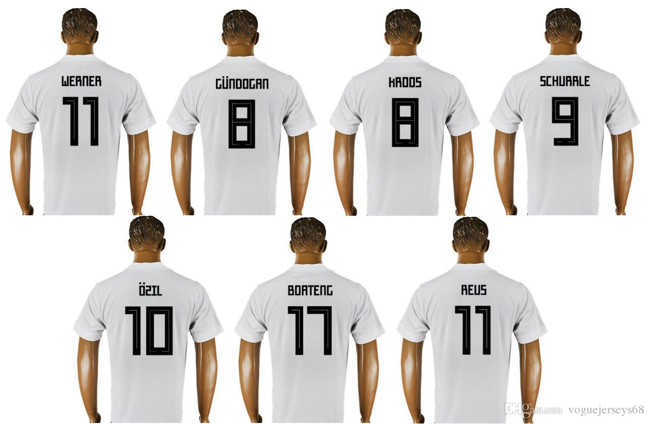 the best attitude 0b89e 81303 Germany New #8 Ilkay Gundogan Toni Kroos 9 Andre Schurrle 10 Mesut Ozil 11  Marco Reus Uniforms Football Shirts Sports Team Soccer Jerseys