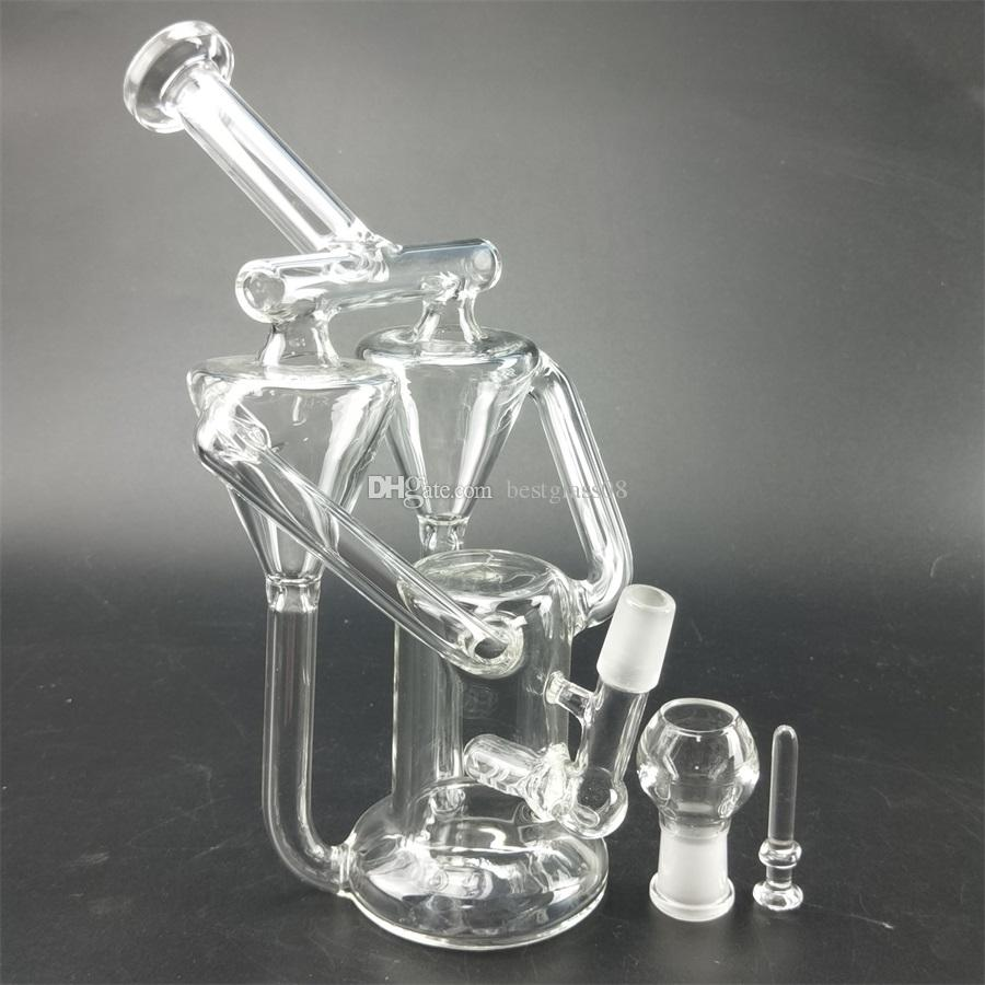 The glass oil rig has a 4mm carbon water compound with a thick glass cover and a male joint 14.5mm shipping smoke hookah glass bong .