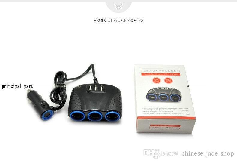 Car Cigarette Lighter Car Charger 12 / 24V 120W Sockets Adapter Splitter 3.1A Dual USB para coche DVR Radar Detector iPhone Tablet PC