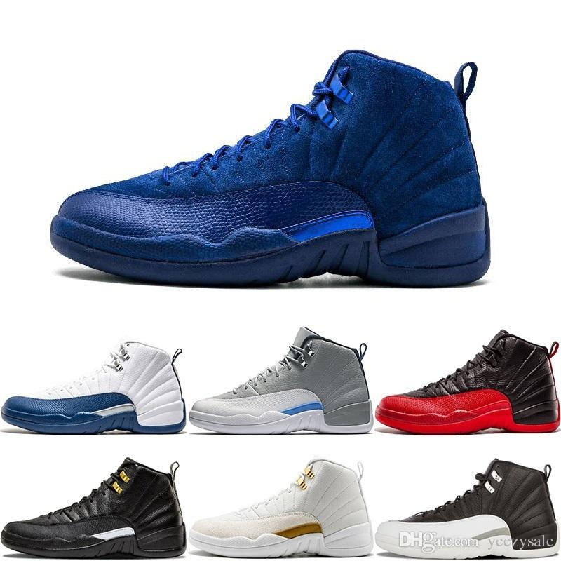 764e1d10666e7c 2019 Cheap 12 Bordeaux Dark Grey Wool 12s Basketball Shoes White Flu Game  UNC Wolf Grey Gym Red Taxi Gamma French Blue Suede Sneakers US7 13 From  Yeezysale