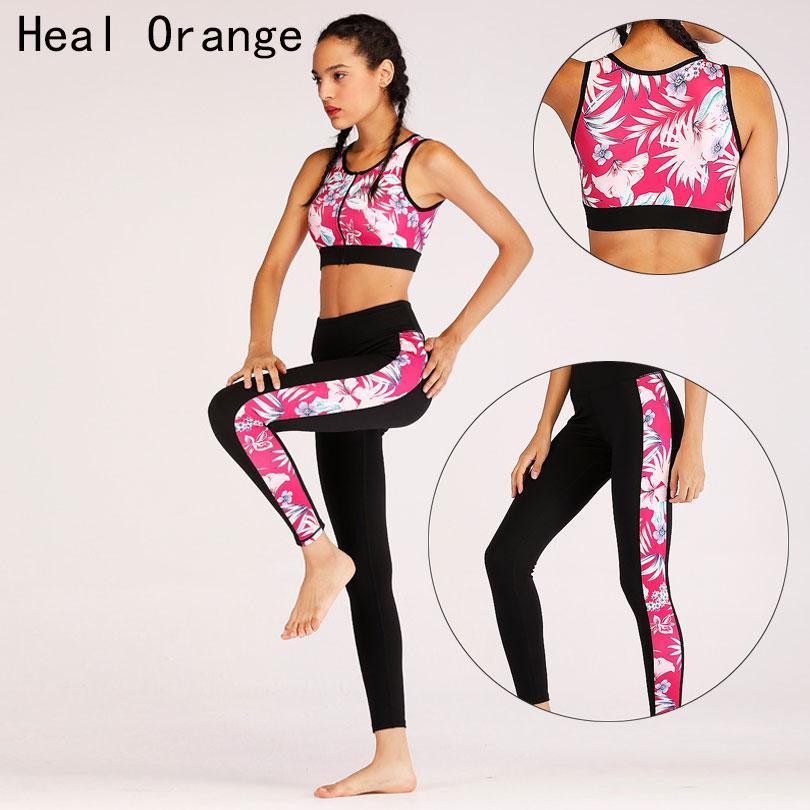 Compre Heal Orange Nuevo Estampado De Cremallera Sujetador Traje Deportivo  Mujer Yoga Ropa Deportiva Ropa Deportiva Para Mujer Ropa Deporte Mujer  Gimnasio ... f3c32adea81be