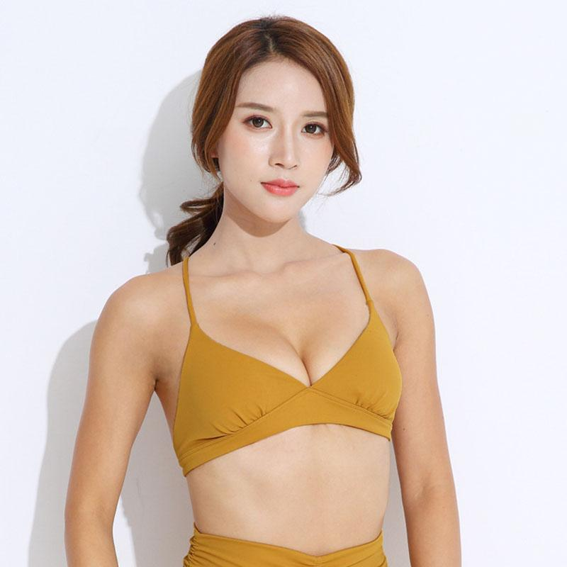 c81b3e679f Sexy Backless Low Impact Sport Fitness Bra Top Women Wireless Deep-V ...