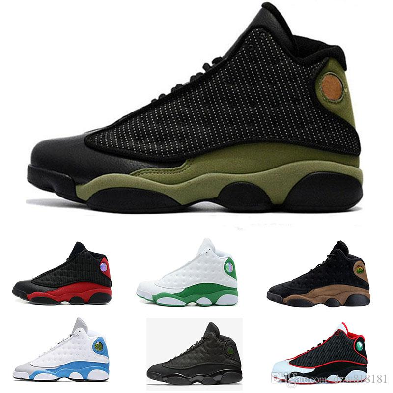 separation shoes f32be 6bfc5 Acheter Nike Air Jordan 13 Retro Drop Shipping 2018 Hommes Femmes Designer  13 Hommes Chaussures De Race Silex Hologram Barons Gris Casual Chaussures  Taille ...