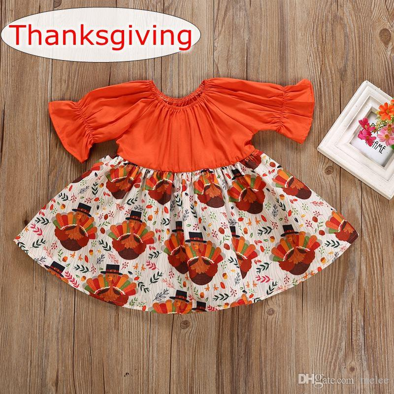 2018 2018 thanksgiving day new baby turkey dress newborn girl orange turkey design jumpsuit dress toddler autumn long sleeve party tutu dress from melee