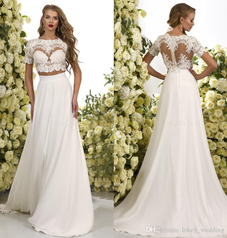 Discount 2018 Two Pieces Bohemian Wedding Dresses Short Sleeves