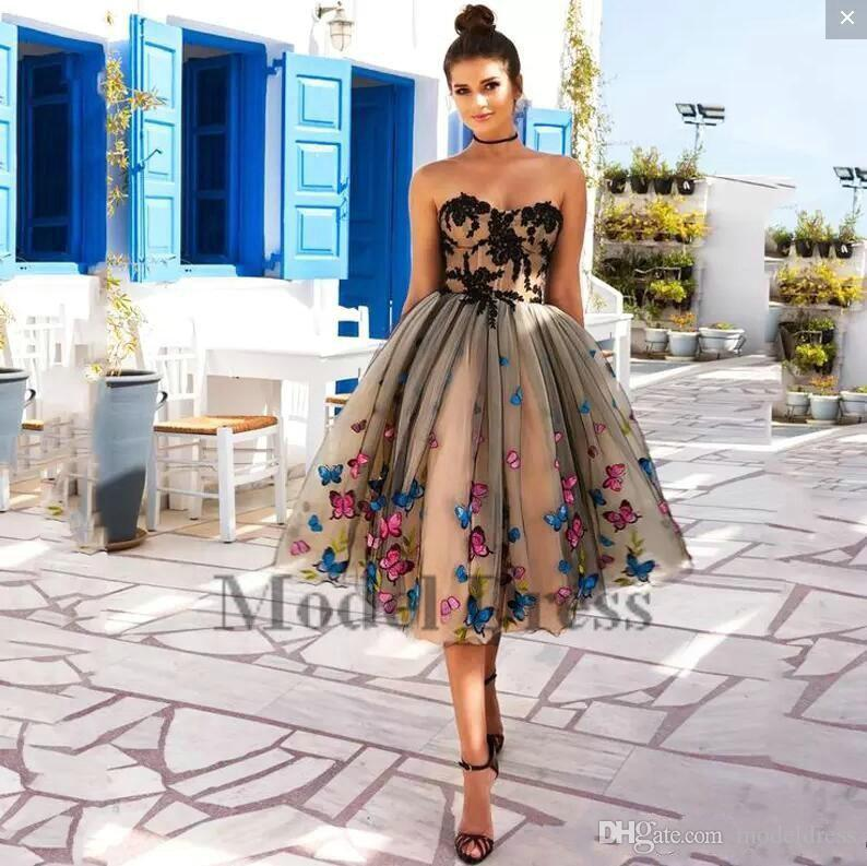 2018 New Style Ball Gown Champagne Prom Dresses Tulle Sweetheart Appliques Unique Butterfly Girls Pageant Dresses for Special Occasion