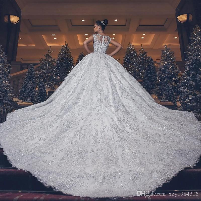ca618b86cd26f8 Dreamy Tale Lace Ball Gown Wedding Dresses Beads Applique V Neck Sleeveless  Wedding Gowns Luxuxry Sparkly Saudi Princess Wedding Dresses Princess Ball  Gowns ...
