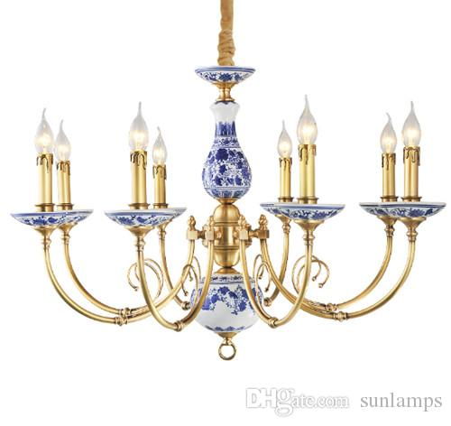 Regron Porzellan Kronleuchter Beleuchtung Led Keramik Kronleuchter Lampe Royal Traditional Chinese Lustre Collectibles Für Villa Lounge Verwenden