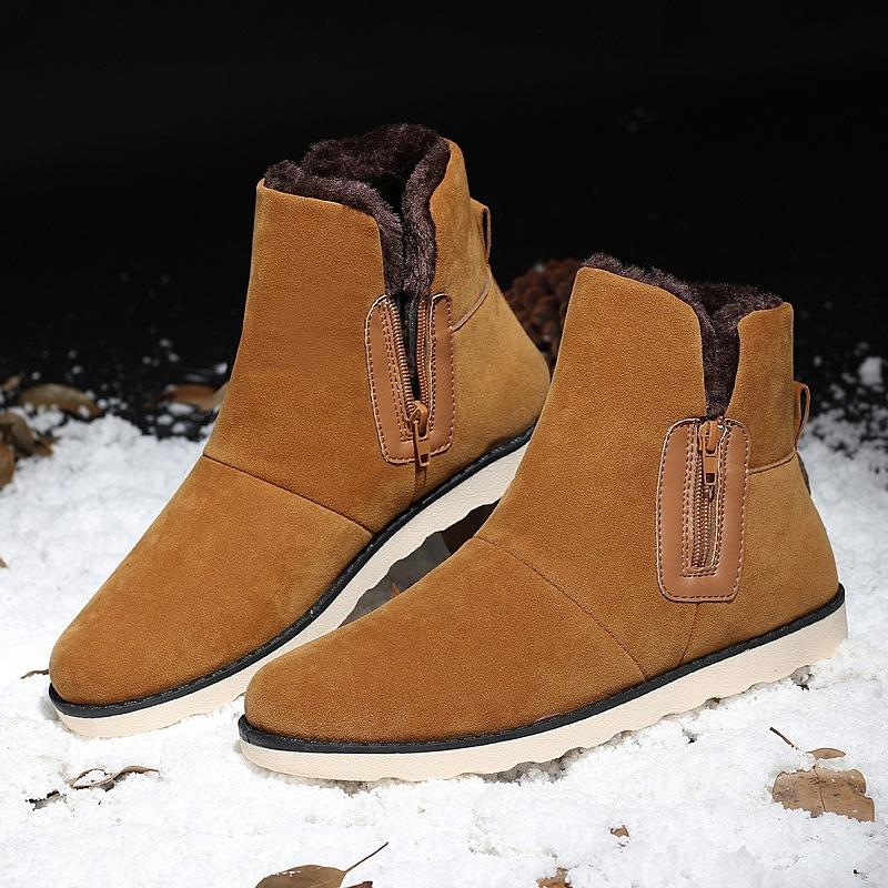 cb5eac5983c4 New Men Cow Suede Shoes Warm Men Winter Shoes Snow Boots Boots Work Flock  Safety Winter Outdoor Male Mid Calf Boots Womens Ankle Boots From  Bidashoes