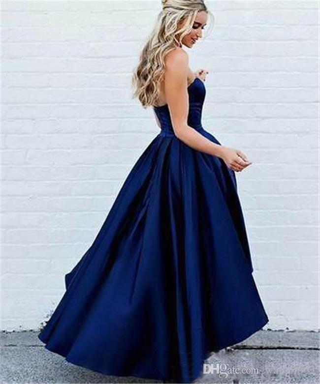High Low Satin Prom Dresses Short Front Long Back Navy Blue Evening Party Dresses Formal Gowns Sweetheart Cheap Bridesmaid Dresses