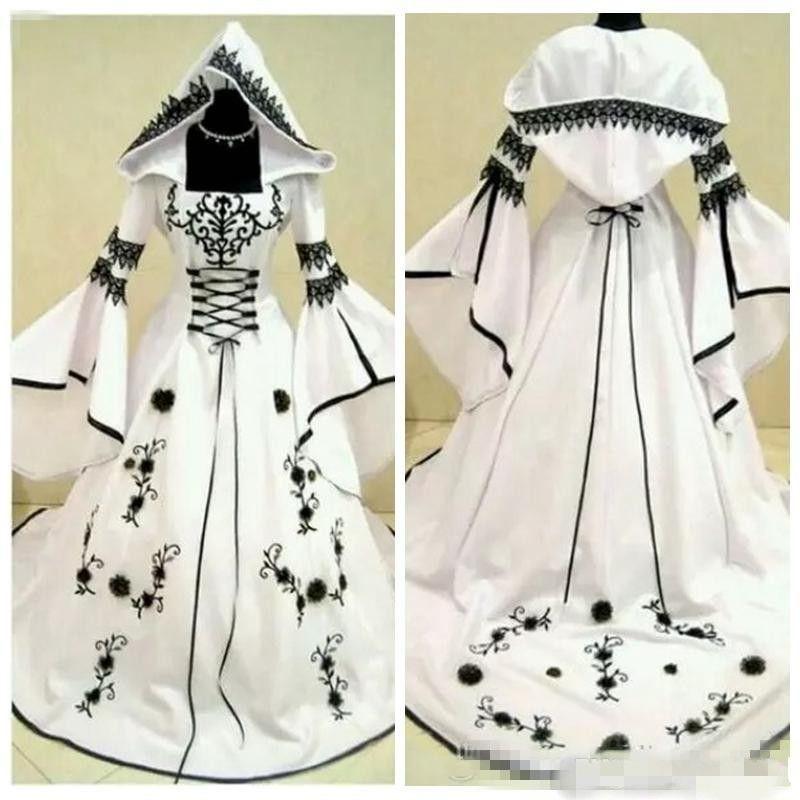2019 Vintage A-Line Black Lace White Satin Gothic Lace Wedding Dresses Bridal Gowns With Hat Flowers Vestidos De Mariee