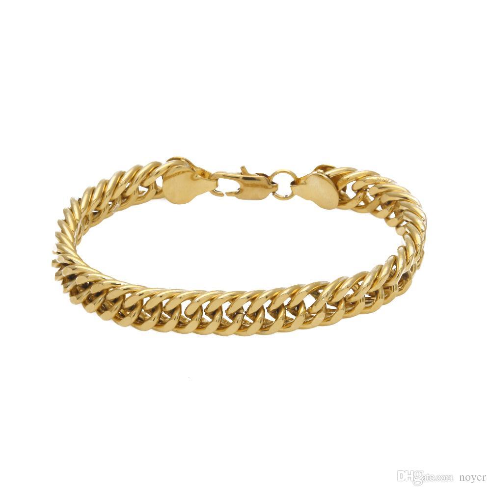 Joyas para hombre de hip hop 10mm Pulseras chapadas en oro Accesorios de pulseras de cadena de hiphop de estilo europeo y americano