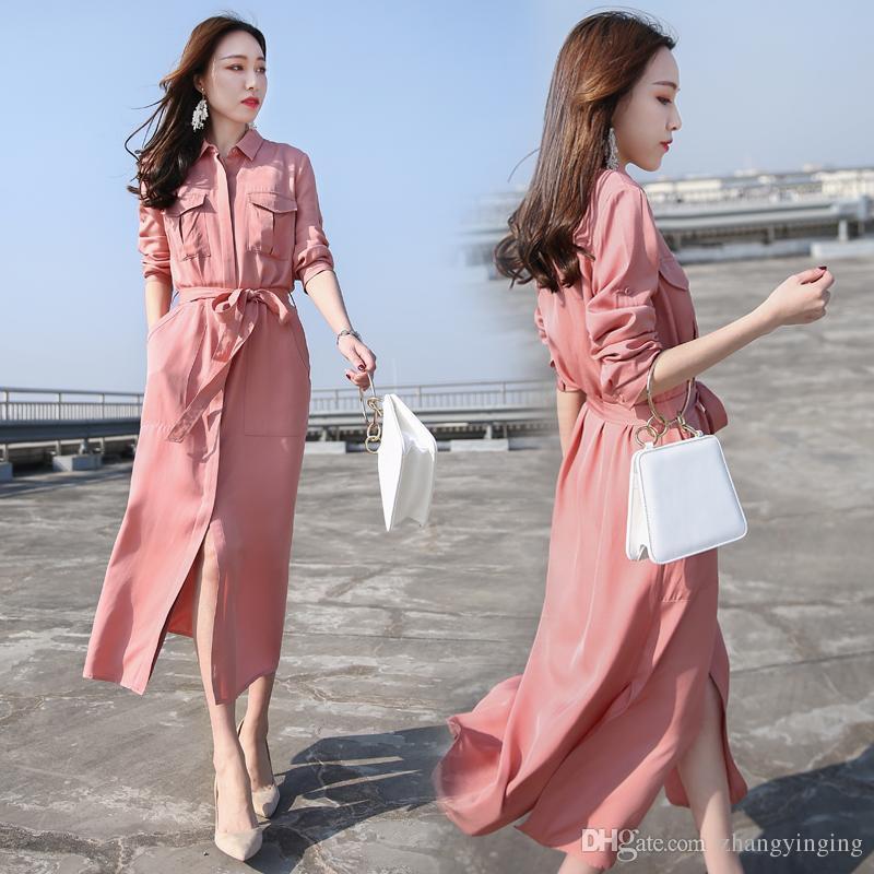2019 2018 New Spring Korean Fashion Dress Female Loose Slim Maxi