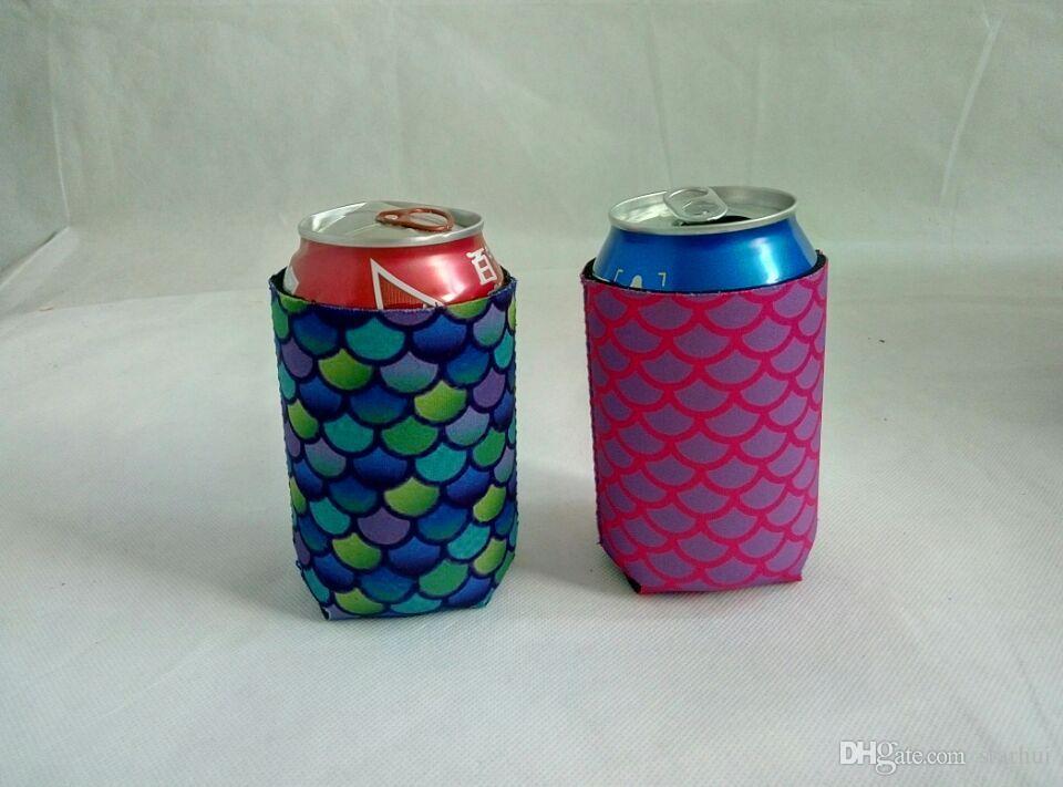 10 * 13cm New Mermaid Slim Can Ärmel Neopren Getränkekühler Mit Bottom Beer Cup Abdeckung Fall Housekeeping Storage Organisation WX9-669