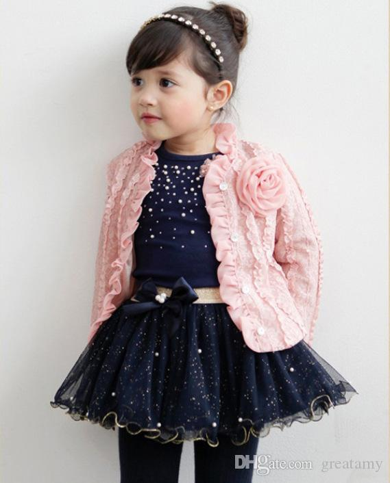 2018 new spring autumn baby girls outfits jacket coat+Tshirt tops+tutu skirts set children girl outwear suit with flower brooch