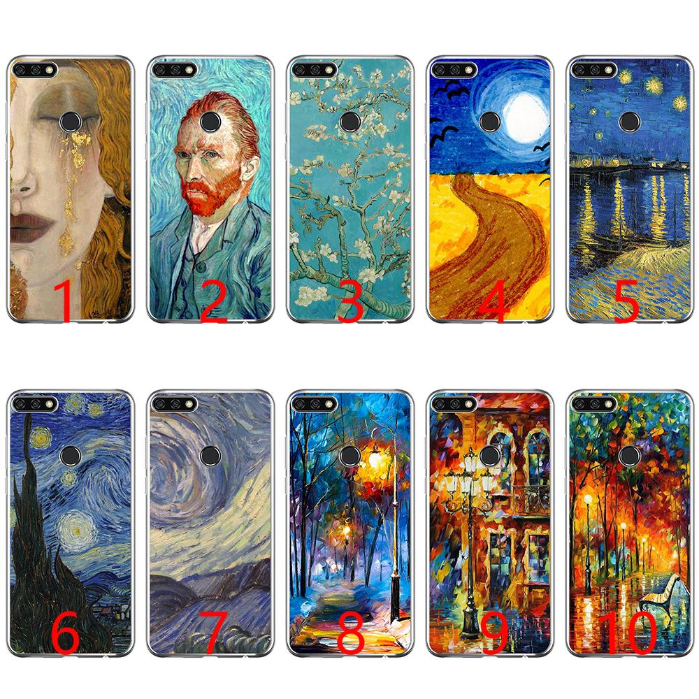 factory price 2d38b b483a paintings Starry Night Van Gogh Soft Silicone Phone Case for Huawei P8 P9  Lite 2015 2016 2017 P10 20 Lite P Smart