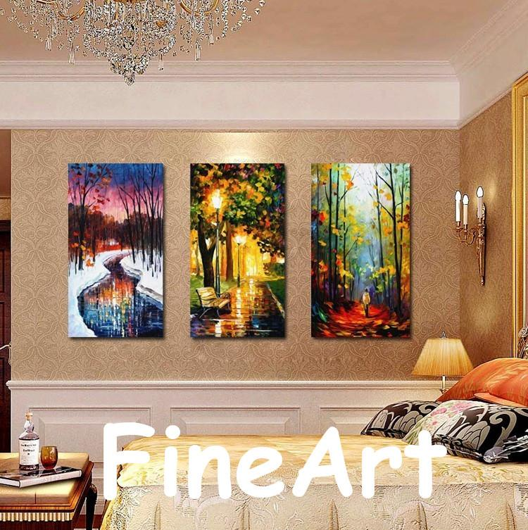high quality 3 piece wall hanging handmade Leonid Afremov knife oil  painting canvas painting bedroom fine art paintings