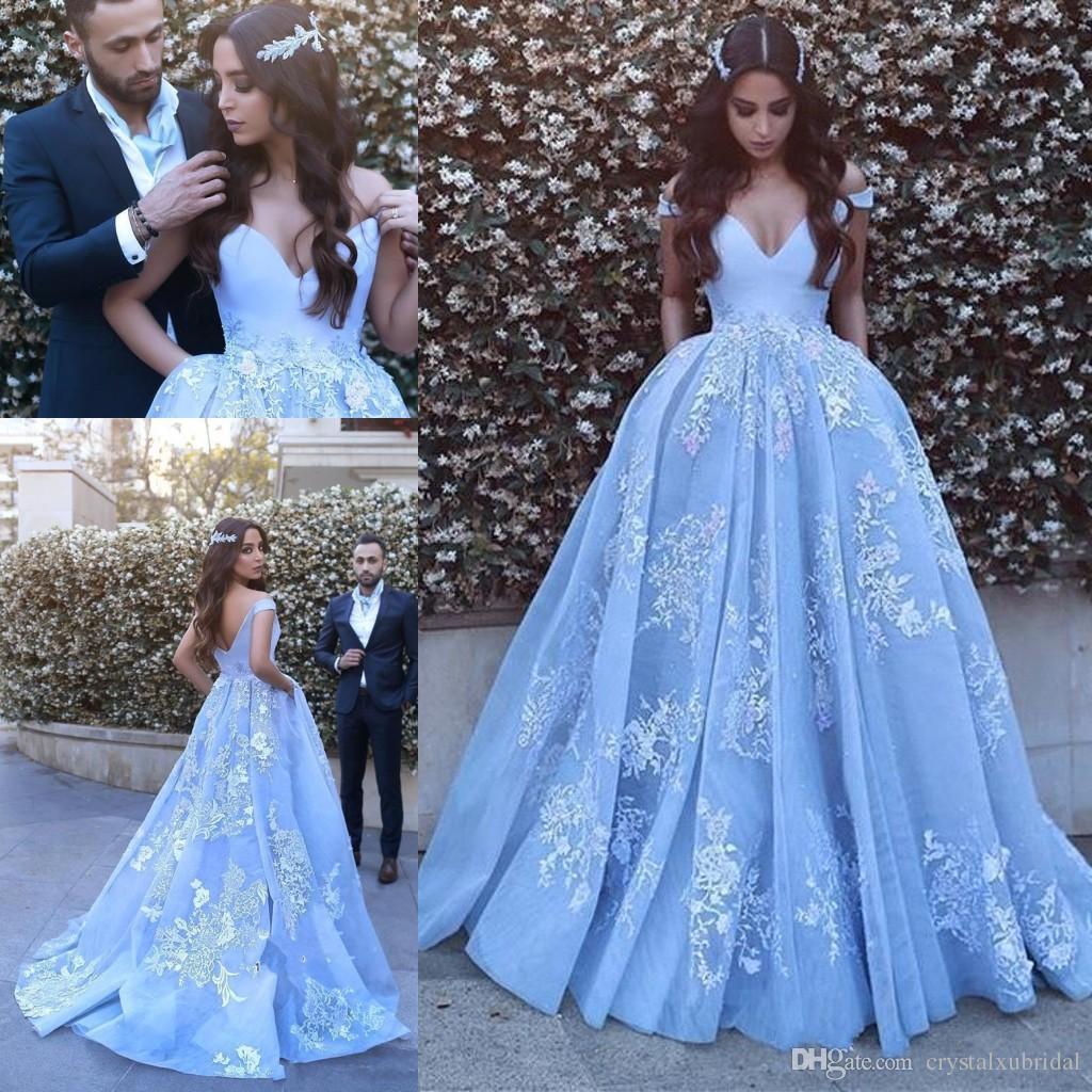 2018 Arabic Prom Dresses Sky Blue Off Shoulder Cap Sleeves White