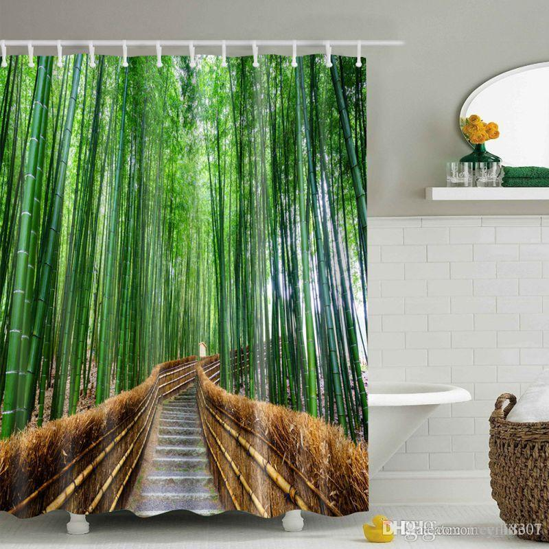 Wholesale Large Bamboo Forest Zen Waterproof Natural Scene Yoga Shower Curtain Bathroom Creative Polyester Quality Bath Curtain