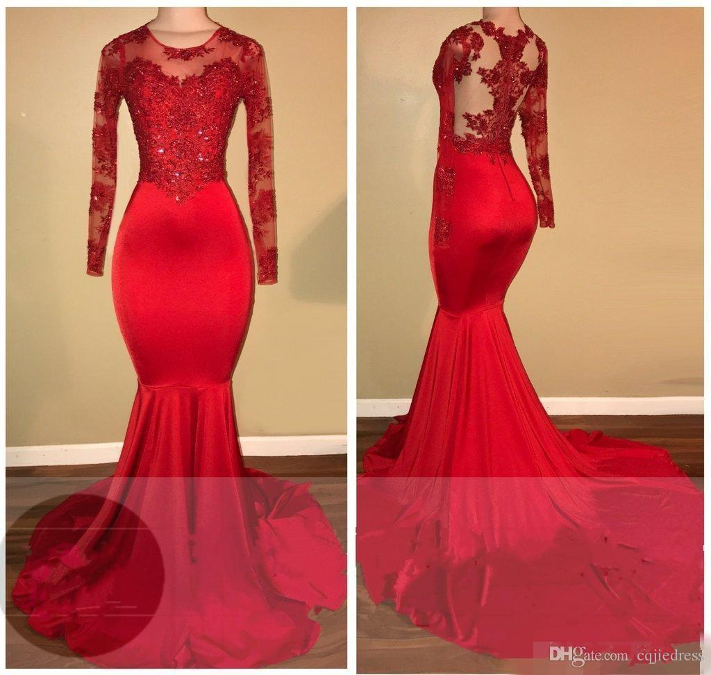 2K18 Vintage Sheer Long Sleeves Red Prom Dresses Mermaid Appliqued paillettes African Black Girls 2018 Nuovi abiti da sera Red Carpet Dress