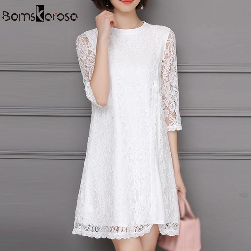 2196d299383 5XL Women S White Lace Dress Elegant Autumn Winter Casual Loose Sexy Mini Dress  Big Size Dresses Vestidos Mujer 2018 Plus Size Sundresses Shift Dress From  ...