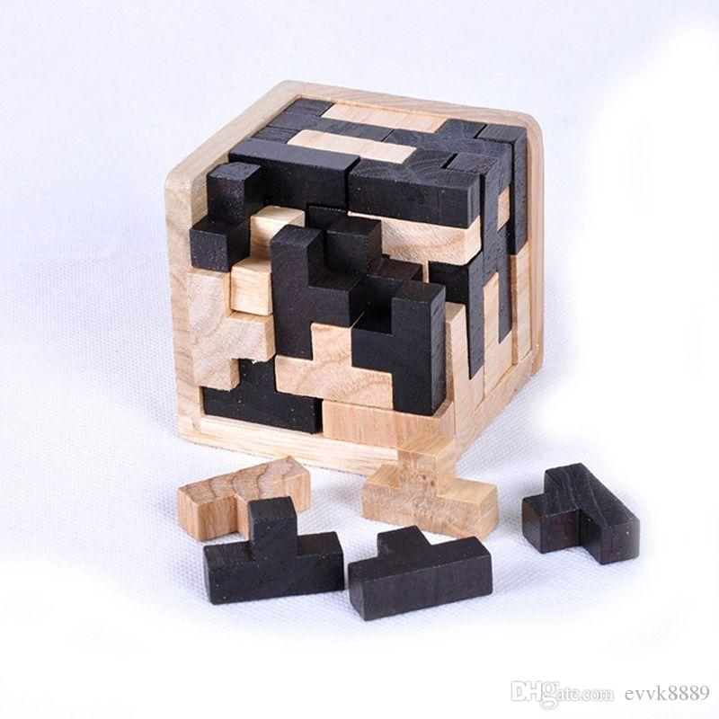 Educational Wood Puzzles For Adults Kids Brain Teaser 3D Puzzles Magic  Cubes IQ brain teaser Kong Ming Lock /Lu Ban Lock toy